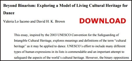 exploring a model of living cultural heritage for dance dance as living heritage paper